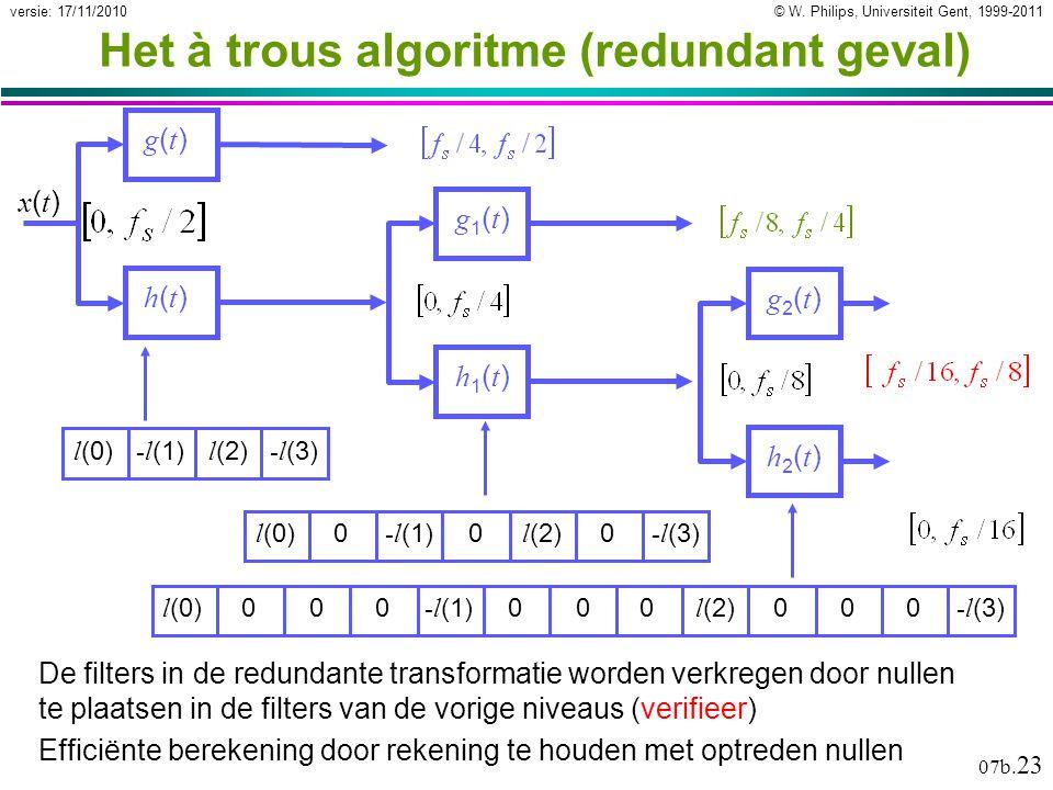 © W. Philips, Universiteit Gent, 1999-2011versie: 17/11/2010 07b. 23 Het à trous algoritme (redundant geval) g(t)g(t) h(t)h(t) x(t)x(t) g1(t)g1(t) h1(