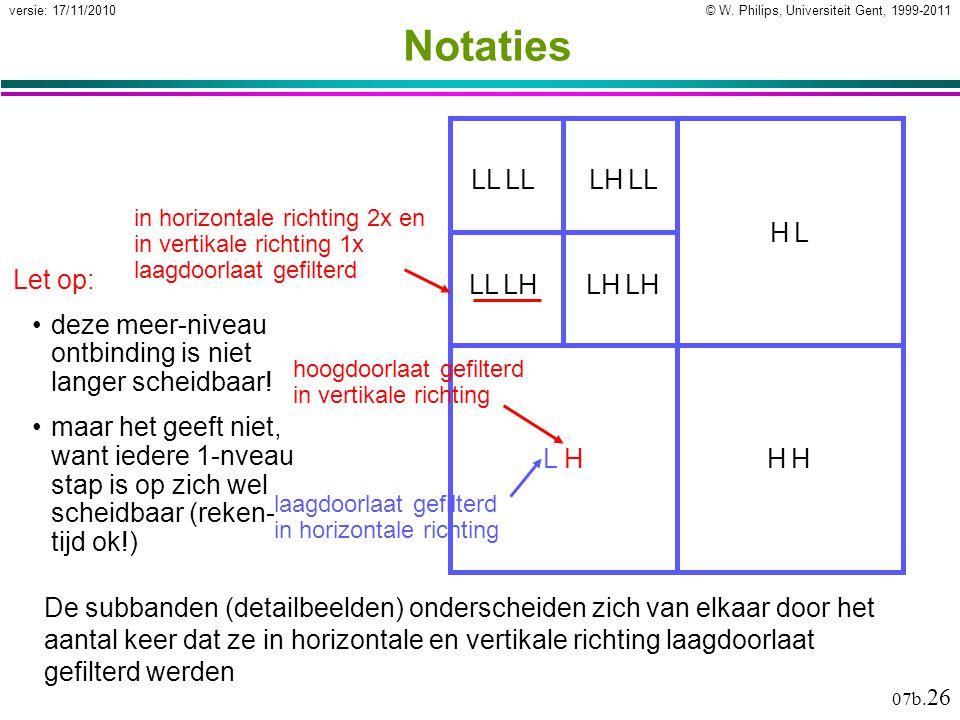 © W. Philips, Universiteit Gent, 1999-2011versie: 17/11/2010 07b. 26 L LL L H LH L L HL HH HH H Notaties De subbanden (detailbeelden) onderscheiden zi
