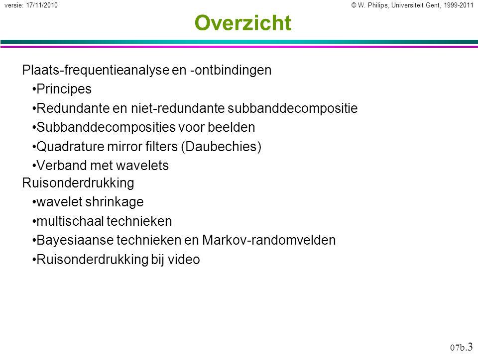 © W. Philips, Universiteit Gent, 1999-2011versie: 17/11/2010 07b. 3 Overzicht Plaats-frequentieanalyse en -ontbindingen Principes Redundante en niet-r