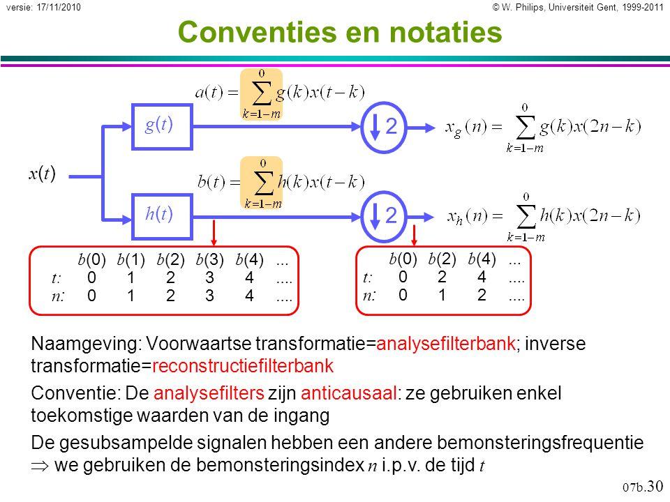 © W. Philips, Universiteit Gent, 1999-2011versie: 17/11/2010 07b. 30 Conventie: De analysefilters zijn anticausaal: ze gebruiken enkel toekomstige waa