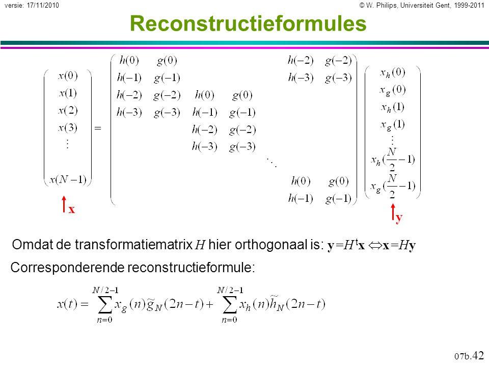 © W. Philips, Universiteit Gent, 1999-2011versie: 17/11/2010 07b. 42 Reconstructieformules Omdat de transformatiematrix H hier orthogonaal is: y=H t x