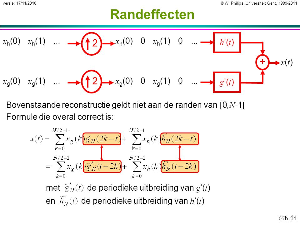© W. Philips, Universiteit Gent, 1999-2011versie: 17/11/2010 07b. 44 Randeffecten + g '( t ) h '( t ) x(t)x(t) x h (0) x h (1) … x g (0) x g (1) … 2 2