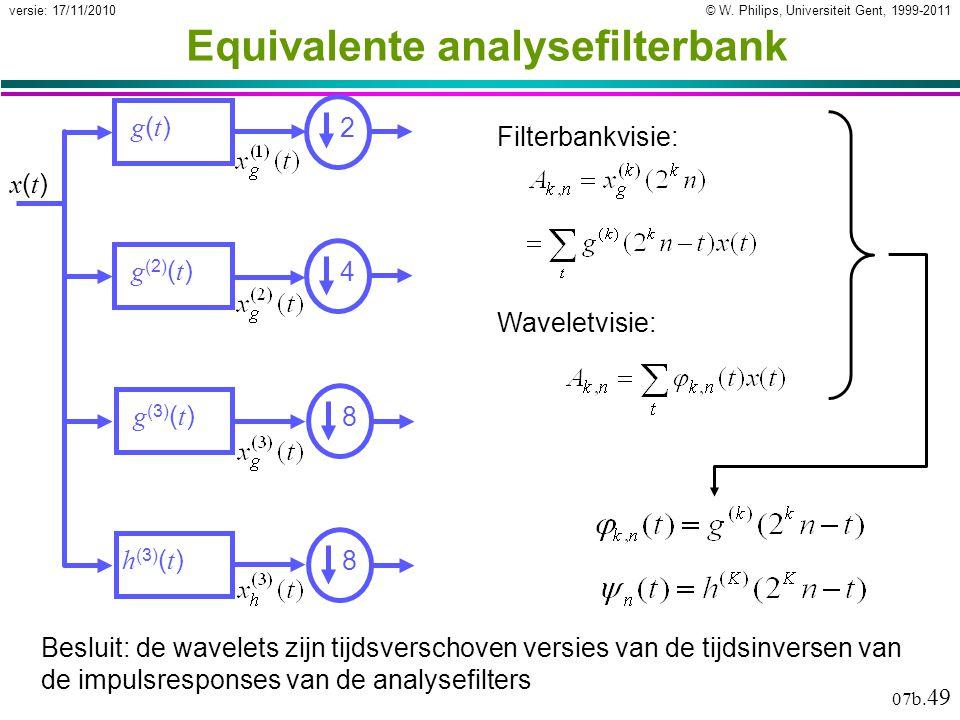 © W. Philips, Universiteit Gent, 1999-2011versie: 17/11/2010 07b. 49 Equivalente analysefilterbank Besluit: de wavelets zijn tijdsverschoven versies v