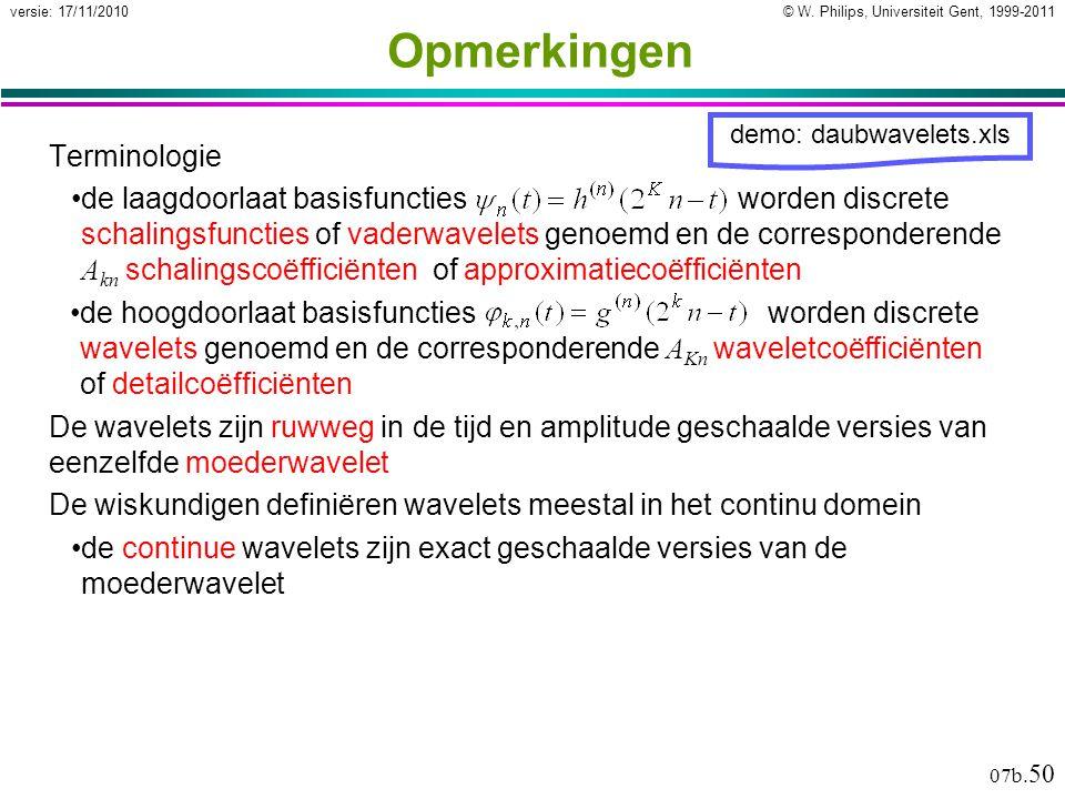© W. Philips, Universiteit Gent, 1999-2011versie: 17/11/2010 07b. 50 Opmerkingen Terminologie de laagdoorlaat basisfunctiesworden discrete schalingsfu