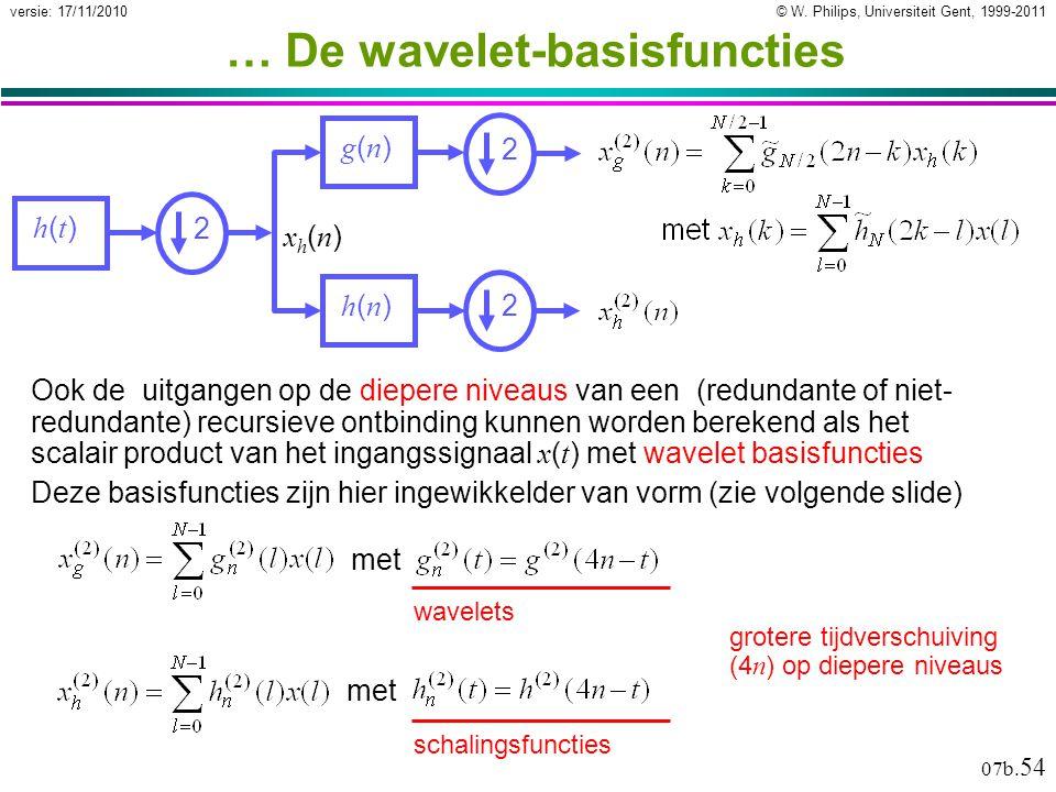 © W. Philips, Universiteit Gent, 1999-2011versie: 17/11/2010 07b. 54 … De wavelet-basisfuncties grotere tijdverschuiving (4 n ) op diepere niveaus g(n