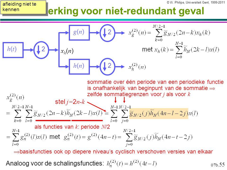 © W. Philips, Universiteit Gent, 1999-2011versie: 17/11/2010 07b. 55 Uitwerking voor niet-redundant geval  basisfuncties ook op diepere niveau's cycl