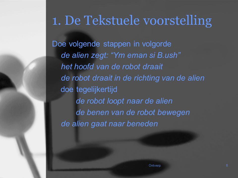 """Ontwerp8 1. De Tekstuele voorstelling Doe volgende stappen in volgorde de alien zegt: """"Ym eman si B.ush"""" het hoofd van de robot draait de robot draait"""