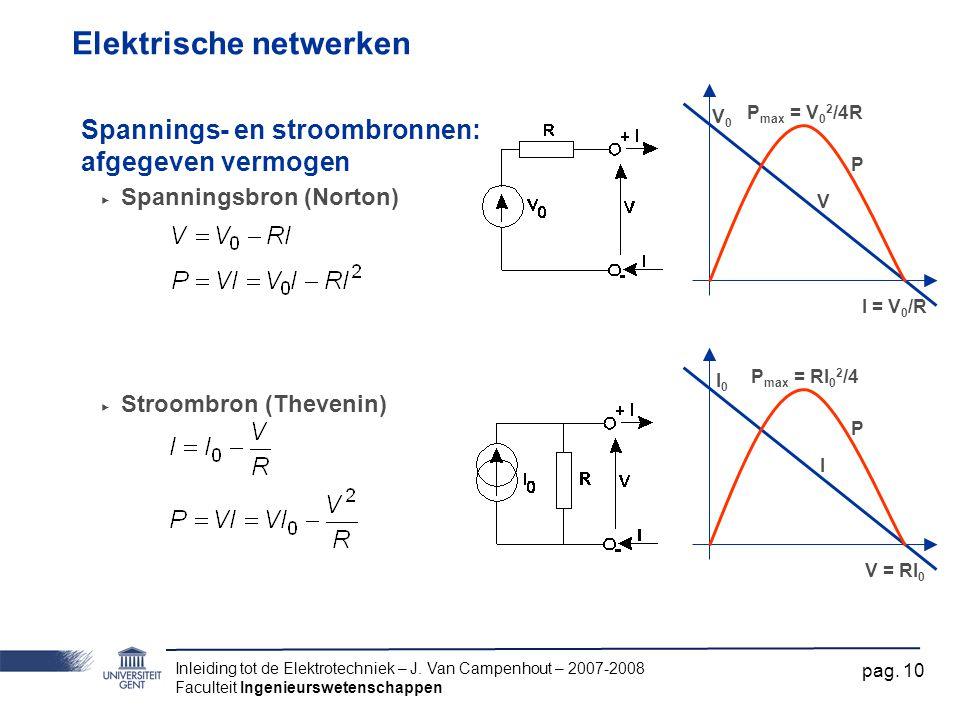 Inleiding tot de Elektrotechniek – J. Van Campenhout – 2007-2008 Faculteit Ingenieurswetenschappen pag. 10 Elektrische netwerken Spannings- en stroomb