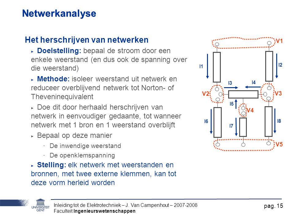 Inleiding tot de Elektrotechniek – J. Van Campenhout – 2007-2008 Faculteit Ingenieurswetenschappen pag. 15 Netwerkanalyse Het herschrijven van netwerk