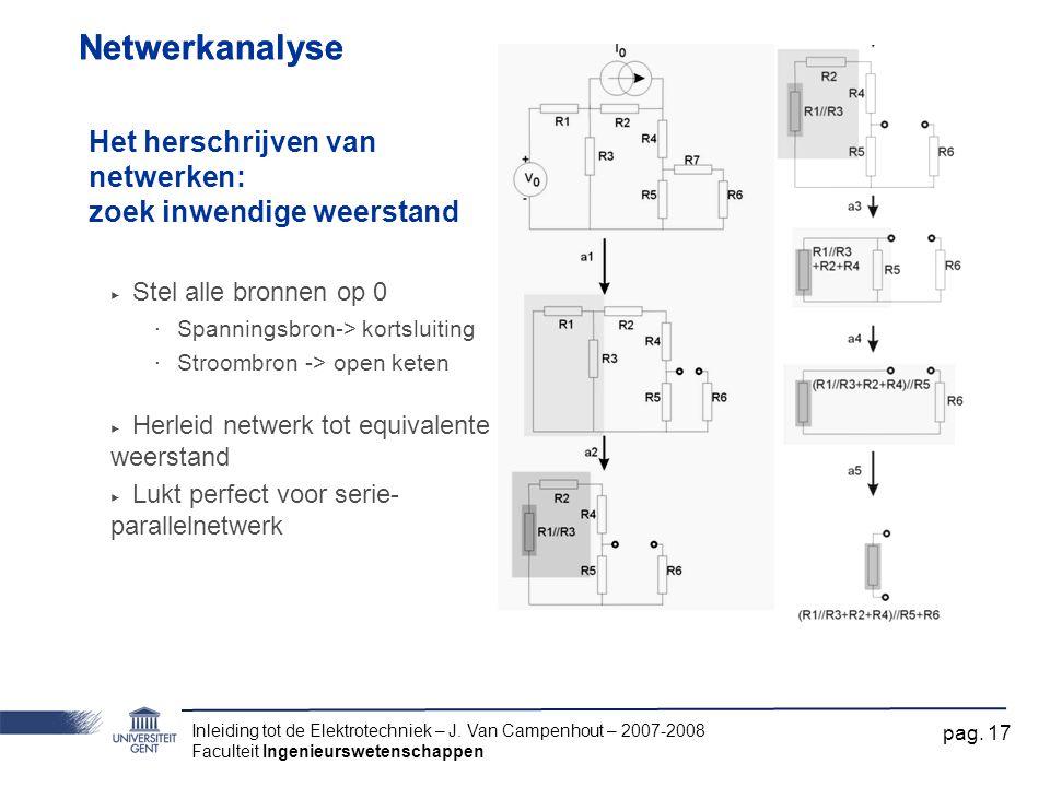 Inleiding tot de Elektrotechniek – J. Van Campenhout – 2007-2008 Faculteit Ingenieurswetenschappen pag. 17 Netwerkanalyse Het herschrijven van netwerk