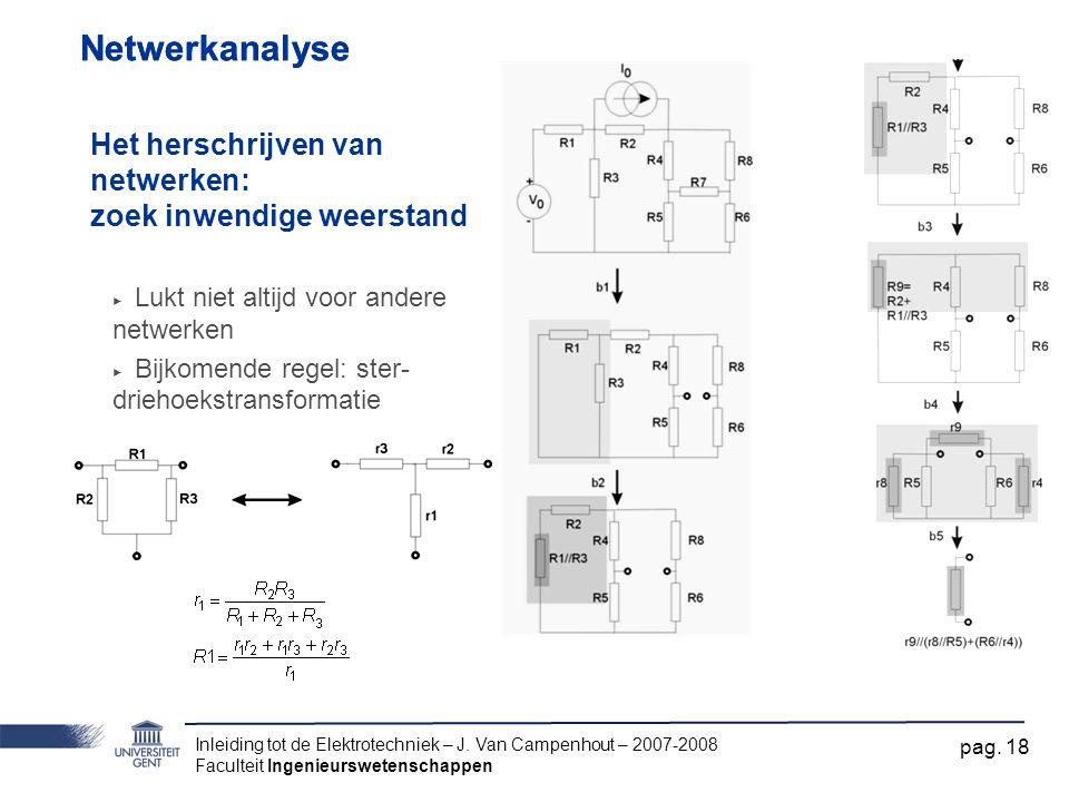 Inleiding tot de Elektrotechniek – J. Van Campenhout – 2007-2008 Faculteit Ingenieurswetenschappen pag. 18 Netwerkanalyse Het herschrijven van netwerk