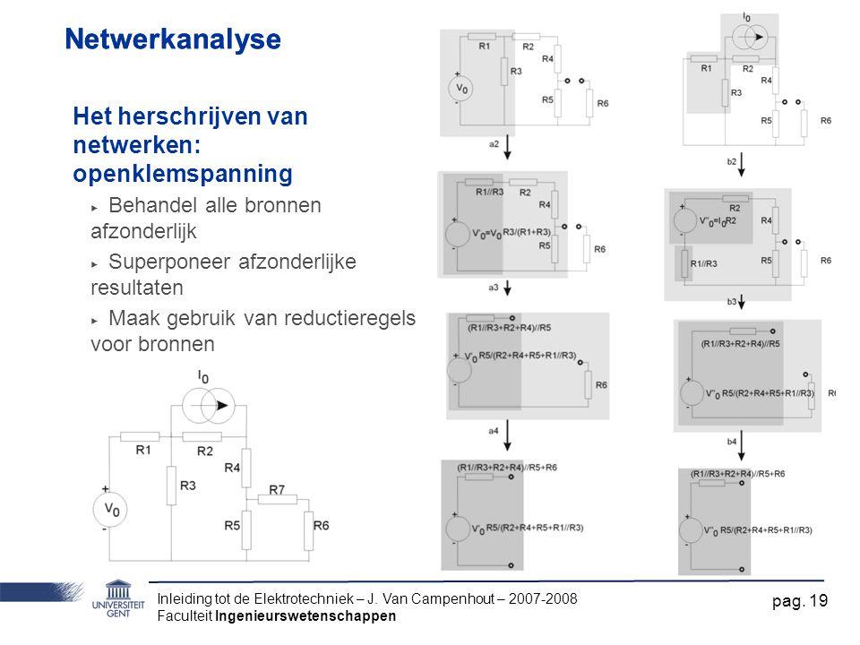 Inleiding tot de Elektrotechniek – J. Van Campenhout – 2007-2008 Faculteit Ingenieurswetenschappen pag. 19 Netwerkanalyse Het herschrijven van netwerk