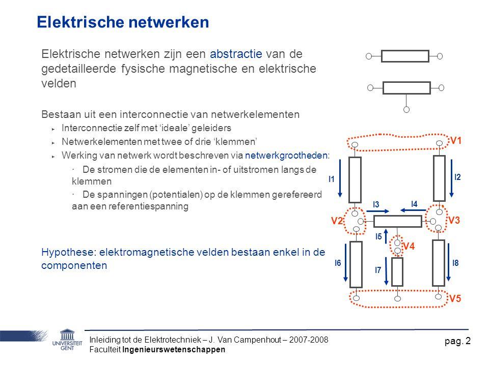 Inleiding tot de Elektrotechniek – J. Van Campenhout – 2007-2008 Faculteit Ingenieurswetenschappen pag. 2 Elektrische netwerken Elektrische netwerken