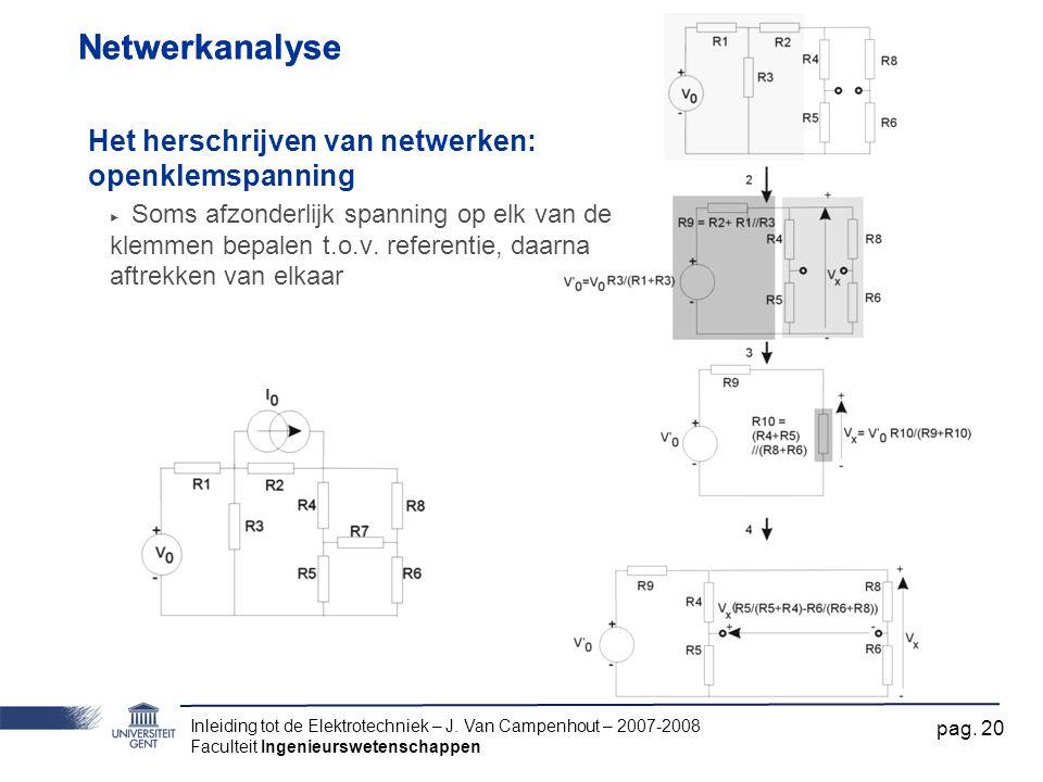 Inleiding tot de Elektrotechniek – J. Van Campenhout – 2007-2008 Faculteit Ingenieurswetenschappen pag. 20 Netwerkanalyse Het herschrijven van netwerk