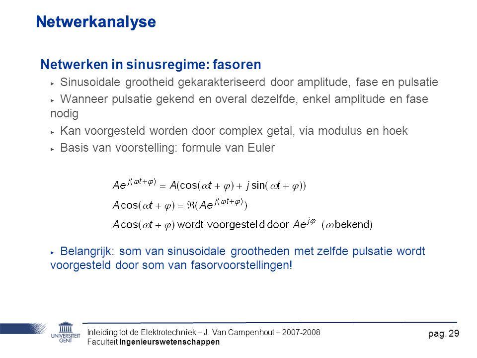 Inleiding tot de Elektrotechniek – J. Van Campenhout – 2007-2008 Faculteit Ingenieurswetenschappen pag. 29 Netwerkanalyse Netwerken in sinusregime: fa