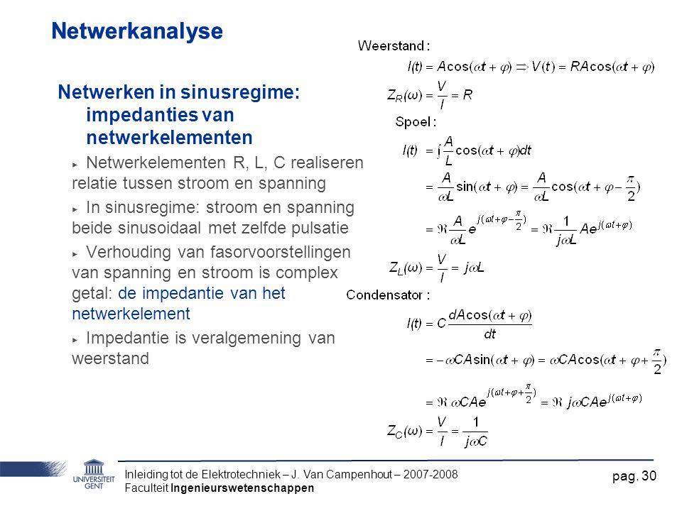 Inleiding tot de Elektrotechniek – J. Van Campenhout – 2007-2008 Faculteit Ingenieurswetenschappen pag. 30 Netwerkanalyse Netwerken in sinusregime: im