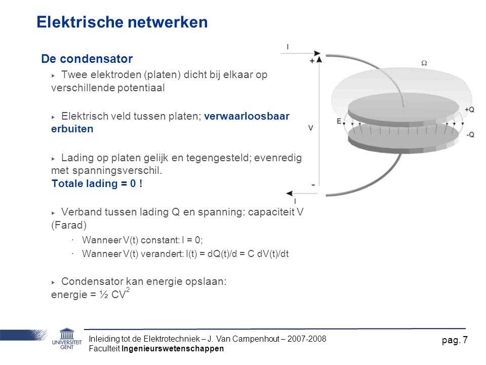 Inleiding tot de Elektrotechniek – J. Van Campenhout – 2007-2008 Faculteit Ingenieurswetenschappen pag. 7 Elektrische netwerken De condensator ‣ Twee