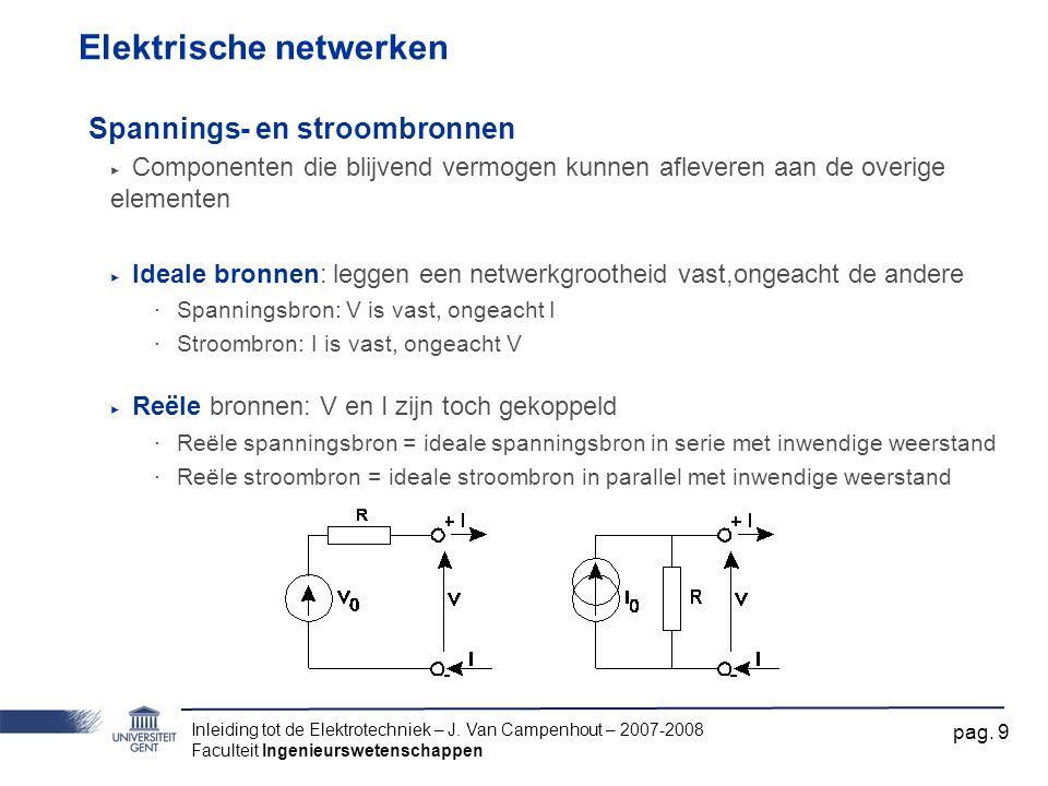 Inleiding tot de Elektrotechniek – J. Van Campenhout – 2007-2008 Faculteit Ingenieurswetenschappen pag. 9 Elektrische netwerken Spannings- en stroombr
