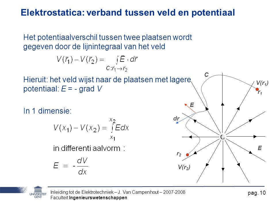 Inleiding tot de Elektrotechniek – J. Van Campenhout – 2007-2008 Faculteit Ingenieurswetenschappen pag. 10 Elektrostatica: verband tussen veld en pote