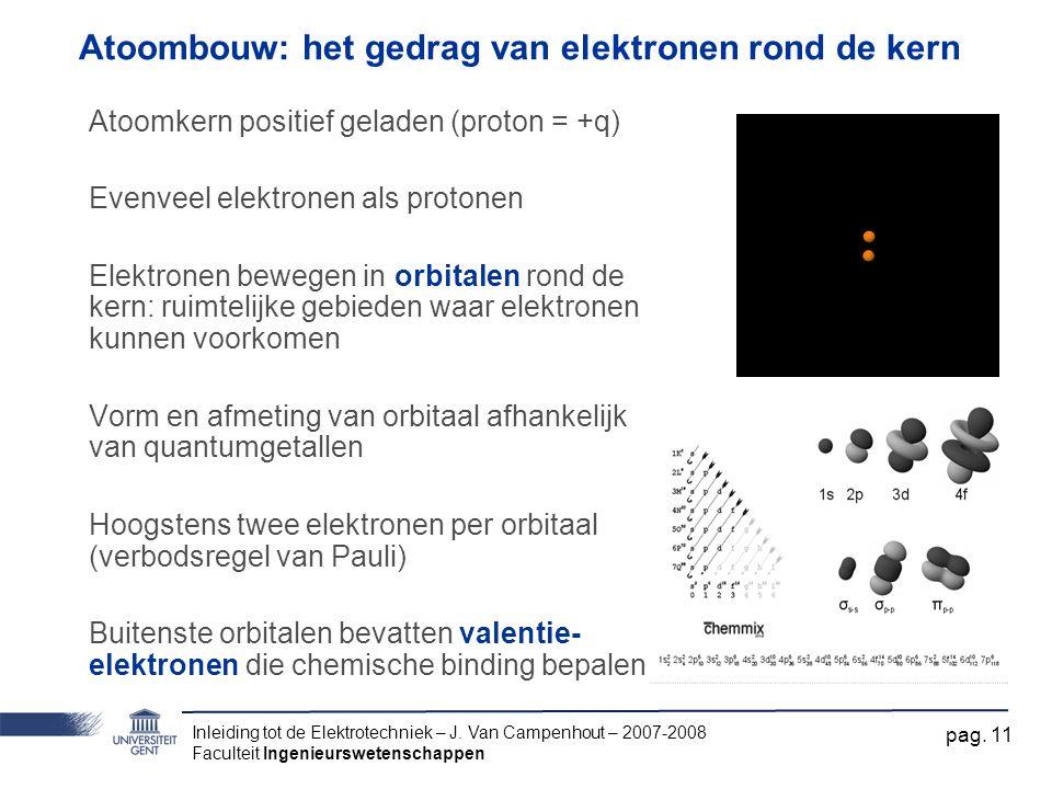Inleiding tot de Elektrotechniek – J. Van Campenhout – 2007-2008 Faculteit Ingenieurswetenschappen pag. 11 Atoombouw: het gedrag van elektronen rond d