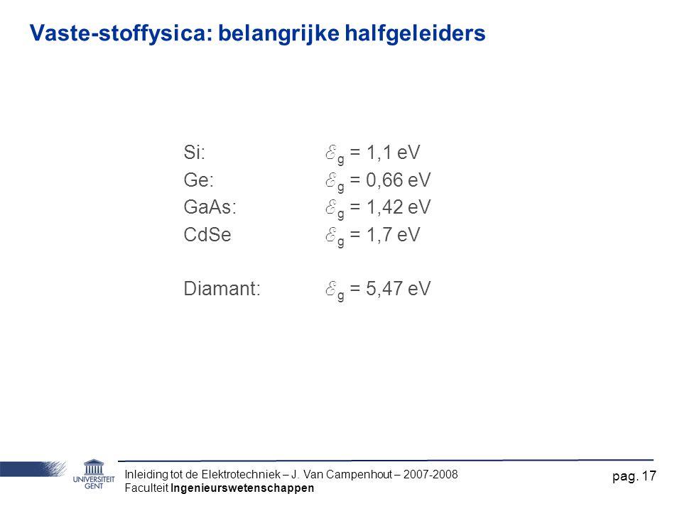 Inleiding tot de Elektrotechniek – J. Van Campenhout – 2007-2008 Faculteit Ingenieurswetenschappen pag. 17 Vaste-stoffysica: belangrijke halfgeleiders