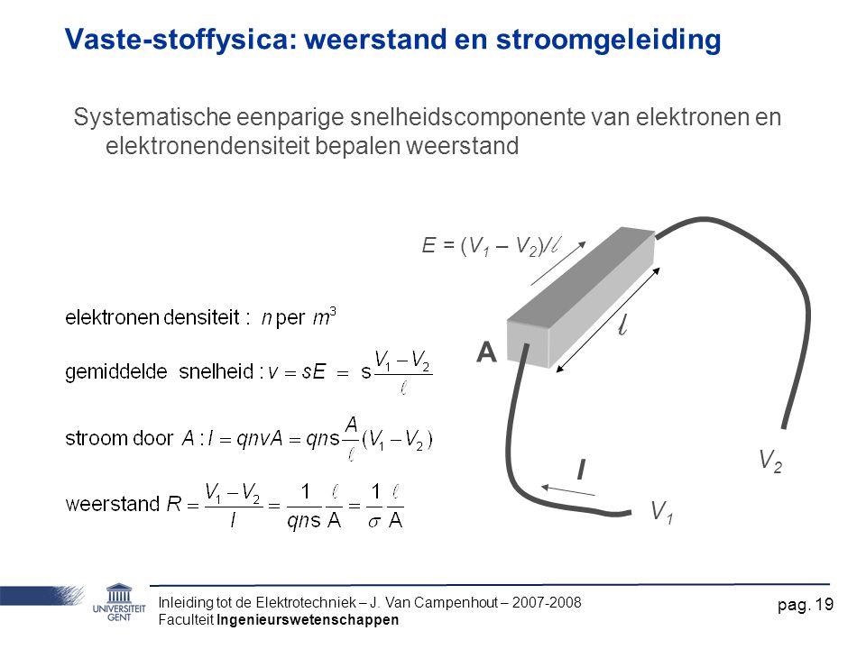 Inleiding tot de Elektrotechniek – J. Van Campenhout – 2007-2008 Faculteit Ingenieurswetenschappen pag. 19 Vaste-stoffysica: weerstand en stroomgeleid
