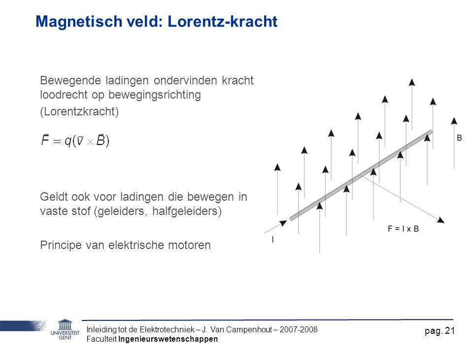 Inleiding tot de Elektrotechniek – J. Van Campenhout – 2007-2008 Faculteit Ingenieurswetenschappen pag. 21 Magnetisch veld: Lorentz-kracht Bewegende l