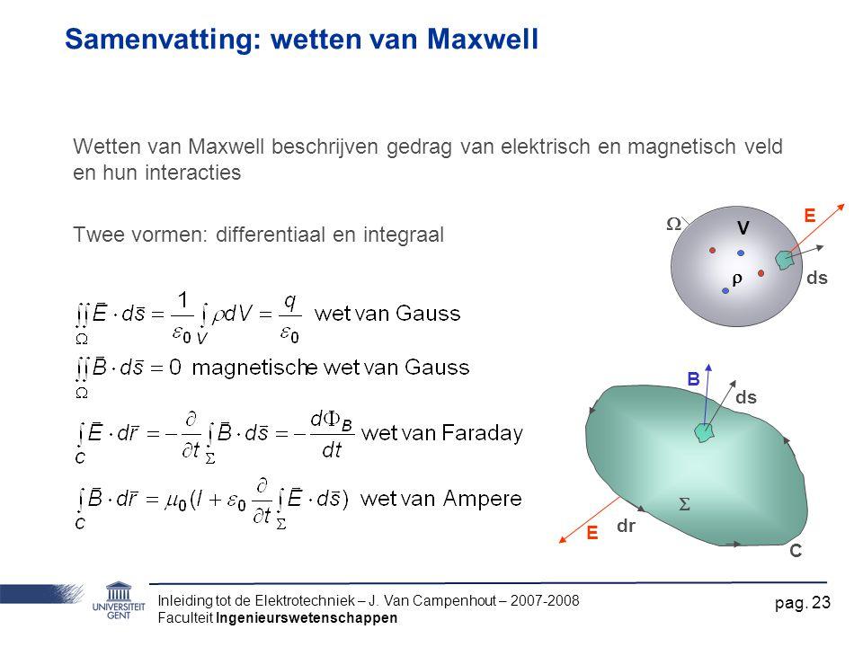 Inleiding tot de Elektrotechniek – J. Van Campenhout – 2007-2008 Faculteit Ingenieurswetenschappen pag. 23 Samenvatting: wetten van Maxwell Wetten van