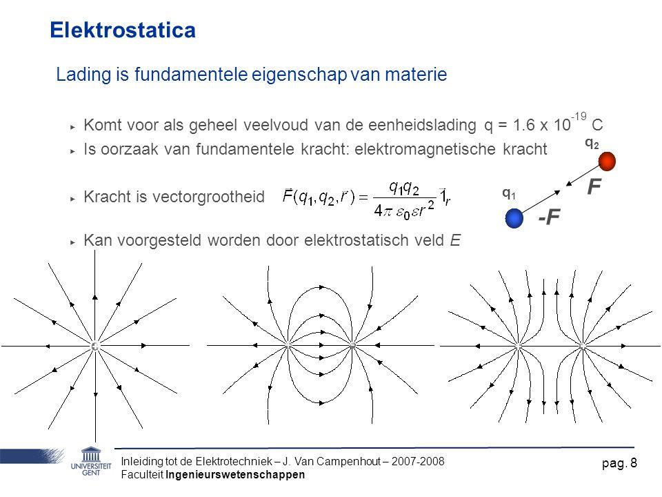 Inleiding tot de Elektrotechniek – J. Van Campenhout – 2007-2008 Faculteit Ingenieurswetenschappen pag. 8 Elektrostatica Lading is fundamentele eigens