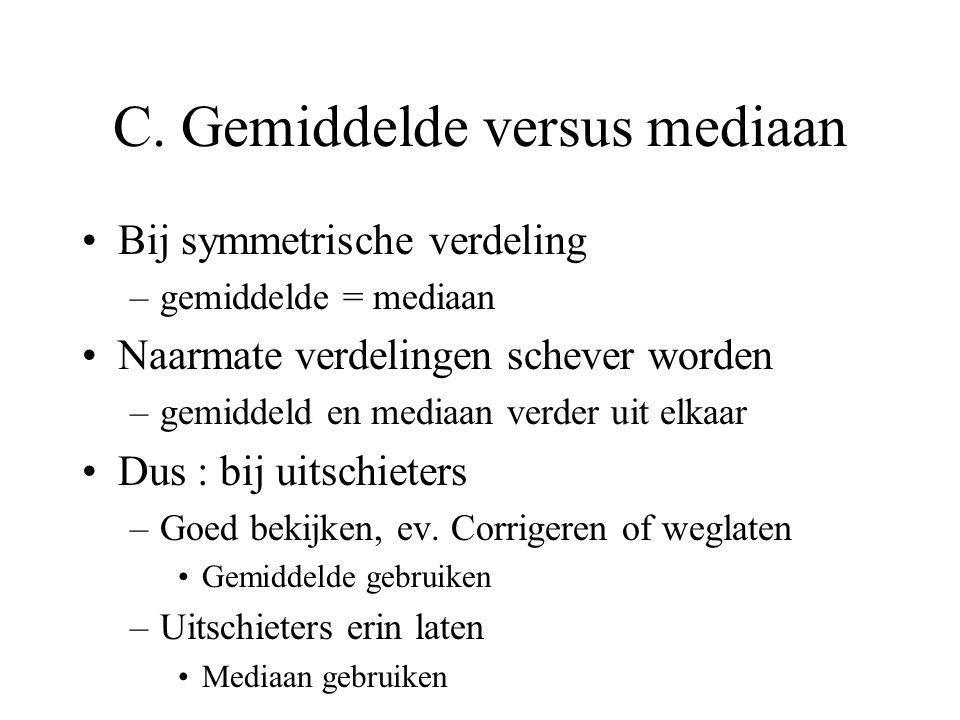 Voorbeeld : aantal doelpunten per match : 2310012 ordenen : 0011223 Mediaan = 1 Mediaan gemakkelijk uit stamdiagram Mediaan is resistente centrummaat
