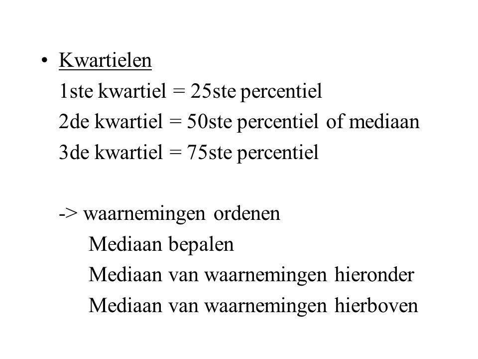 Percentiel 30ste percentiel = de waarde zodat 30% van de verdeling hieronder valt of gelijk is bv.