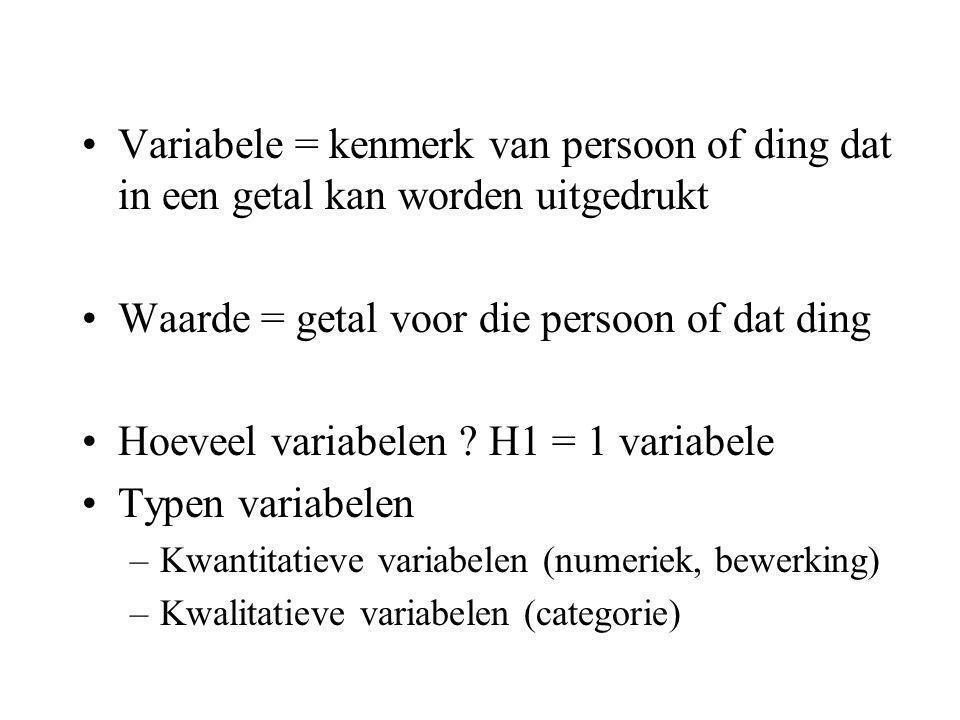 Variabele = kenmerk van persoon of ding dat in een getal kan worden uitgedrukt Waarde = getal voor die persoon of dat ding Hoeveel variabelen .