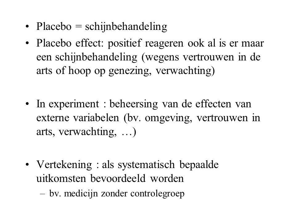 Placebo = schijnbehandeling Placebo effect: positief reageren ook al is er maar een schijnbehandeling (wegens vertrouwen in de arts of hoop op genezin