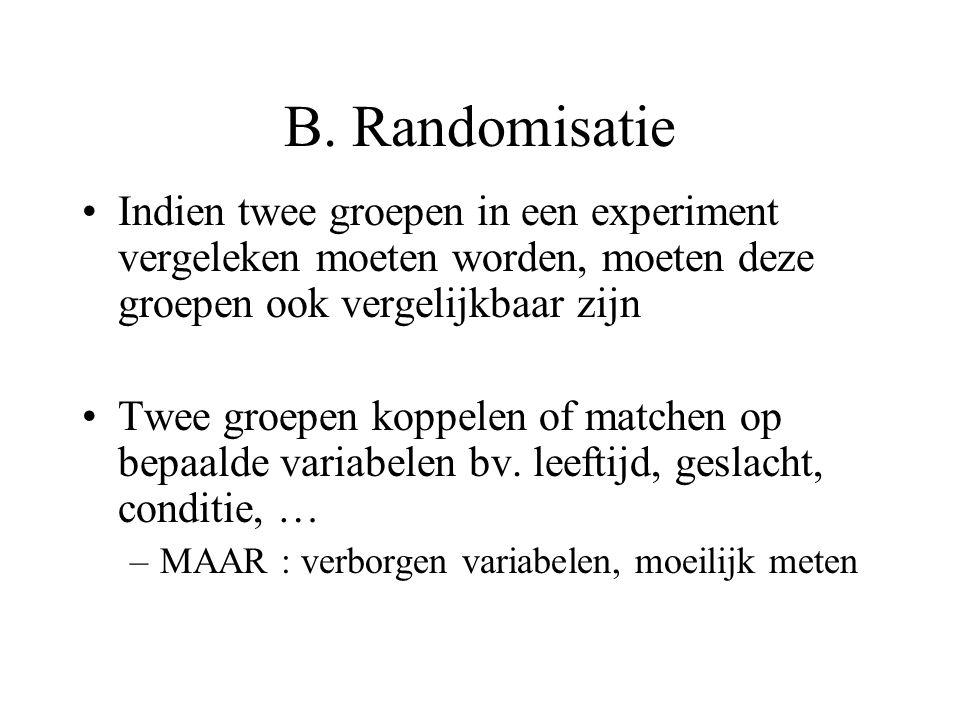 B. Randomisatie Indien twee groepen in een experiment vergeleken moeten worden, moeten deze groepen ook vergelijkbaar zijn Twee groepen koppelen of ma