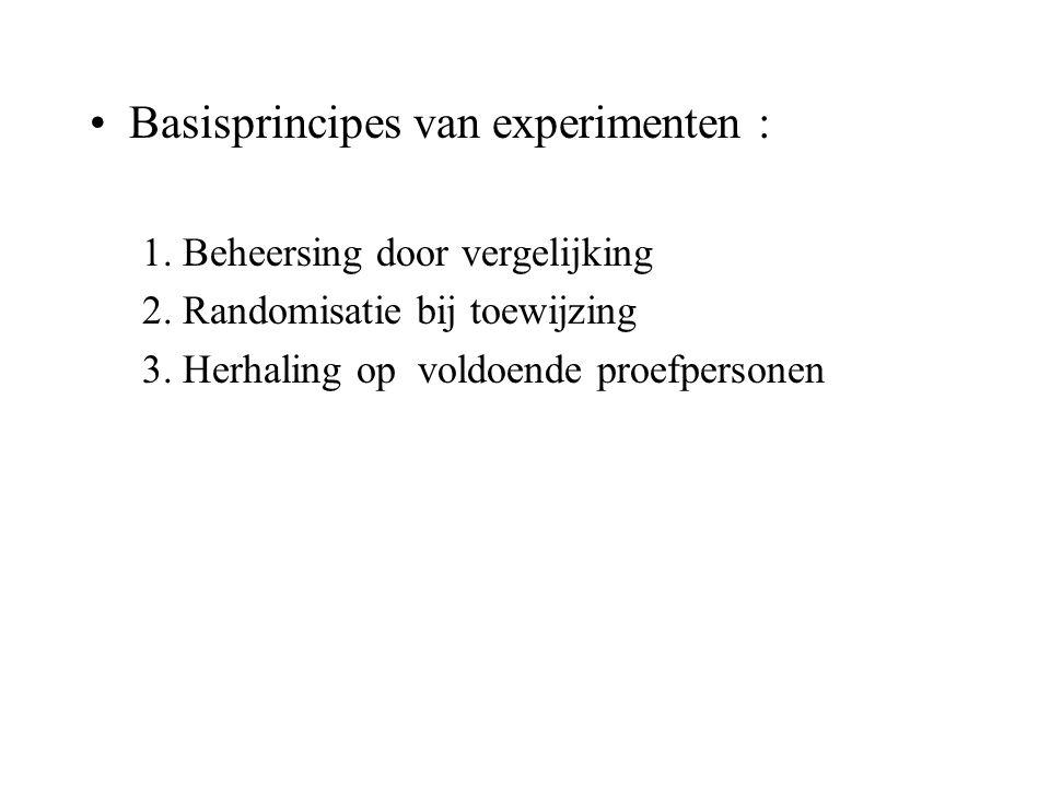 Basisprincipes van experimenten : 1. Beheersing door vergelijking 2. Randomisatie bij toewijzing 3. Herhaling op voldoende proefpersonen