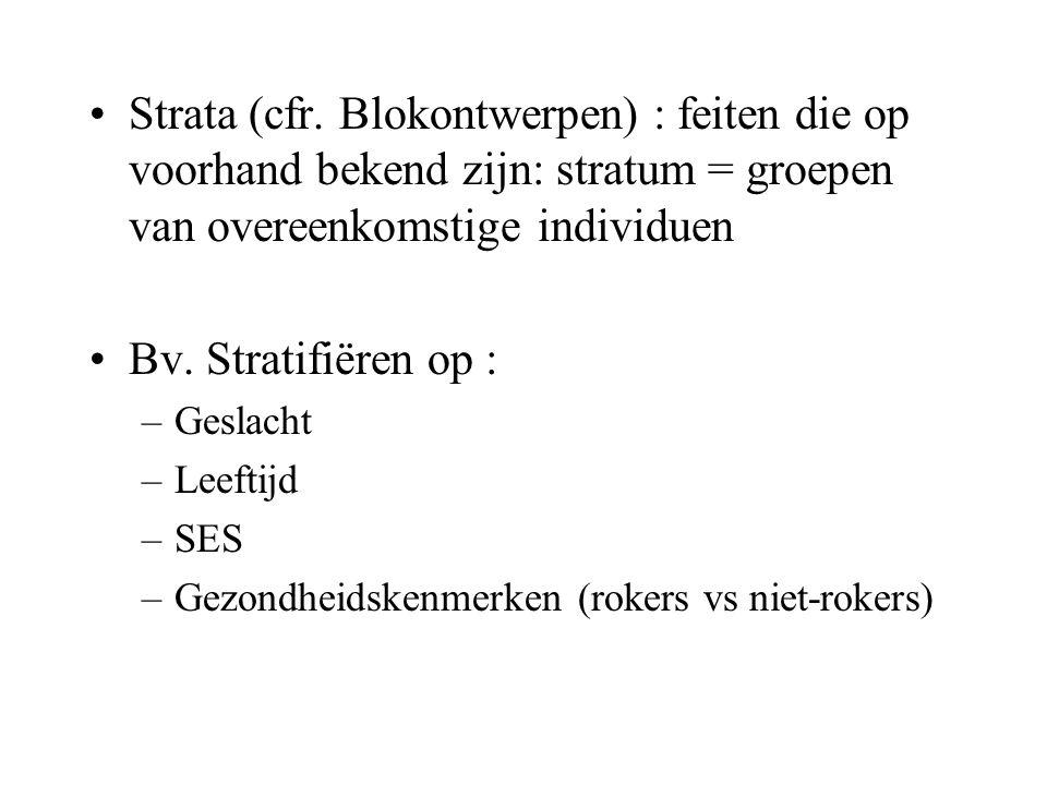 Strata (cfr. Blokontwerpen) : feiten die op voorhand bekend zijn: stratum = groepen van overeenkomstige individuen Bv. Stratifiëren op : –Geslacht –Le