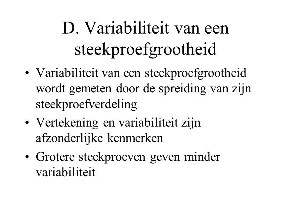 D. Variabiliteit van een steekproefgrootheid Variabiliteit van een steekproefgrootheid wordt gemeten door de spreiding van zijn steekproefverdeling Ve