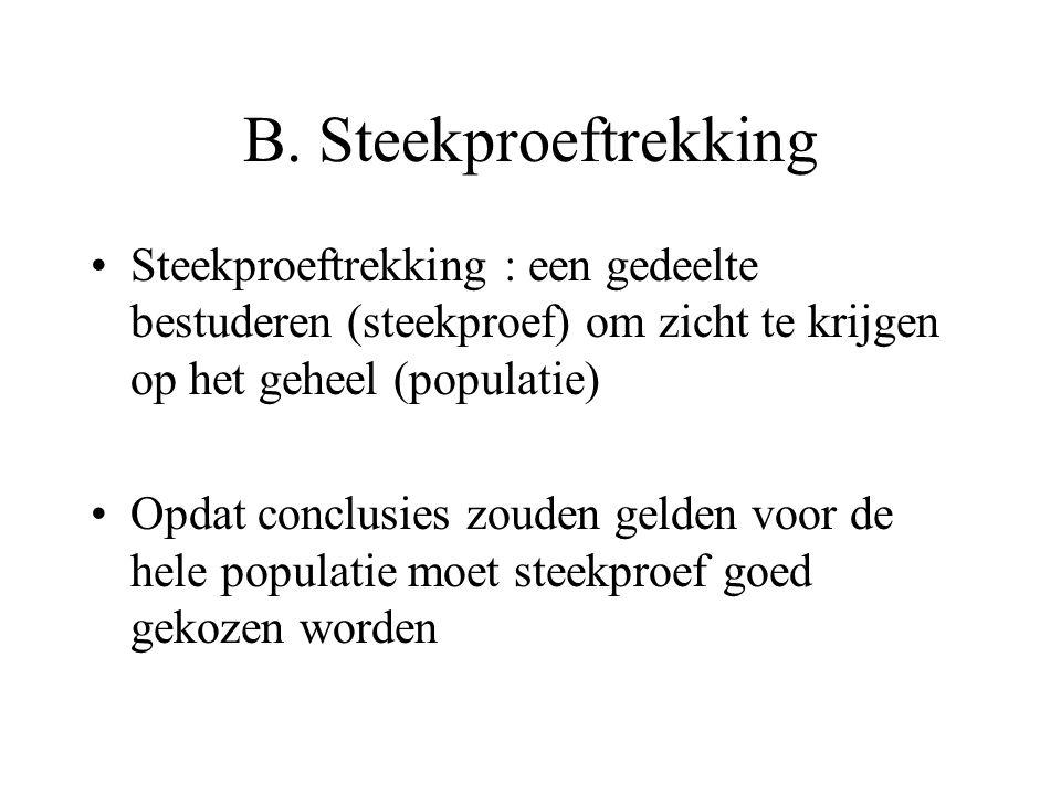 B. Steekproeftrekking Steekproeftrekking : een gedeelte bestuderen (steekproef) om zicht te krijgen op het geheel (populatie) Opdat conclusies zouden