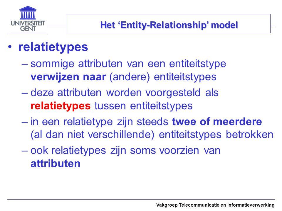 Vakgroep Telecommunicatie en Informatieverwerking Het 'Entity-Relationship' model relatietypes –sommige attributen van een entiteitstype verwijzen naa