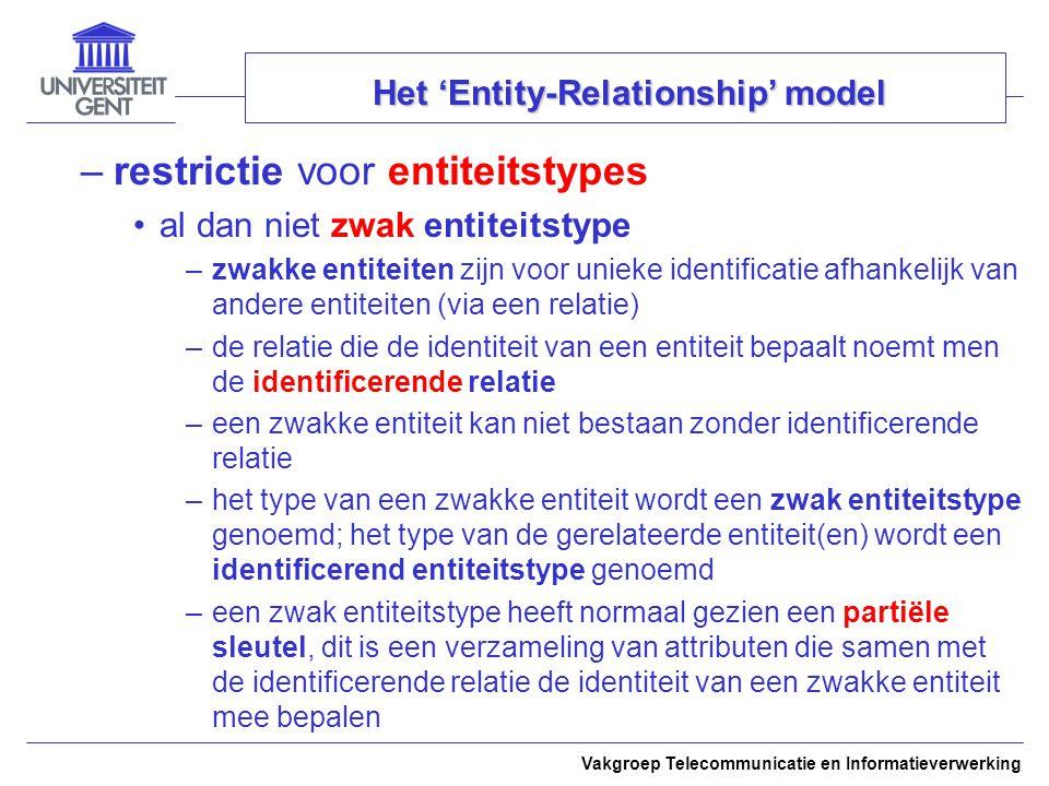 Vakgroep Telecommunicatie en Informatieverwerking Het 'Entity-Relationship' model –restrictie voor entiteitstypes al dan niet zwak entiteitstype –zwak