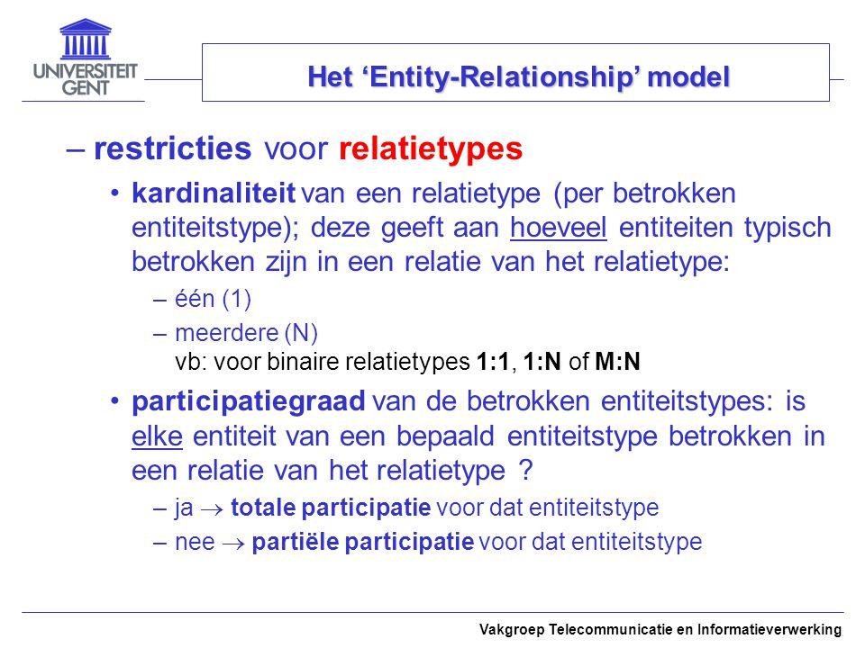 Vakgroep Telecommunicatie en Informatieverwerking Het 'Entity-Relationship' model –restricties voor relatietypes kardinaliteit van een relatietype (pe