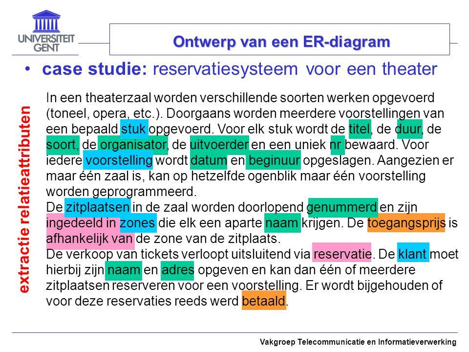 Vakgroep Telecommunicatie en Informatieverwerking Ontwerp van een ER-diagram case studie: reservatiesysteem voor een theater extractie relatieattribut