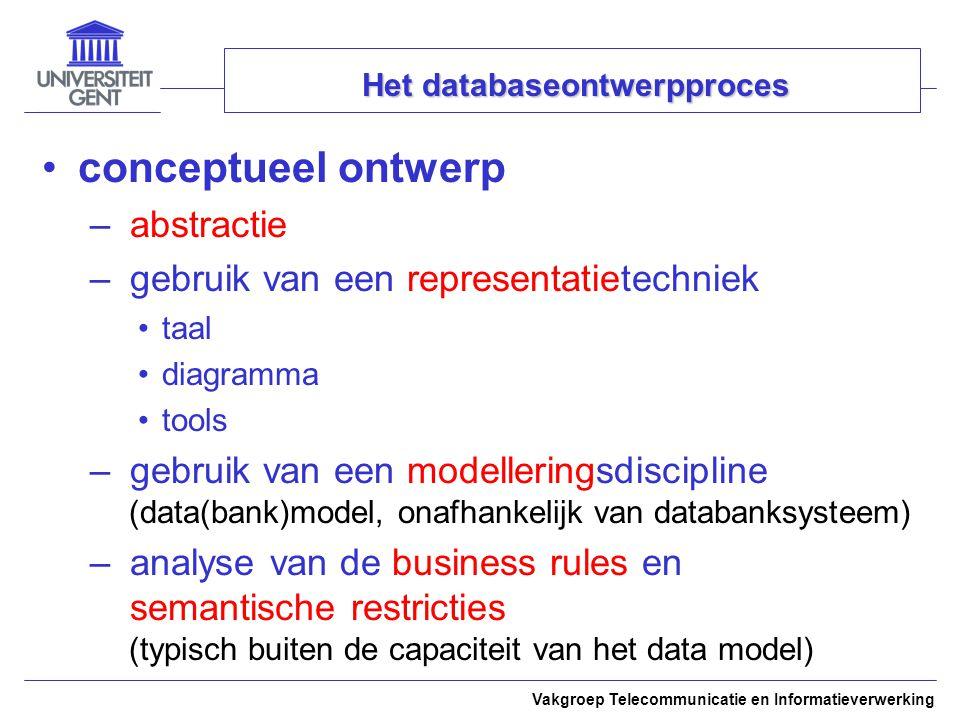 Vakgroep Telecommunicatie en Informatieverwerking Het databaseontwerpproces conceptueel ontwerp – abstractie – gebruik van een representatietechniek t