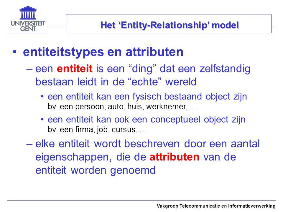 Vakgroep Telecommunicatie en Informatieverwerking Het 'Entity-Relationship' model –een entiteitstype definieert de gemeenschappe- lijke karakteristieken van een verzameling van entiteiten met dezelfde attributen –alle entiteiten van hetzelfde entiteitstype hebben dezelfde attributen