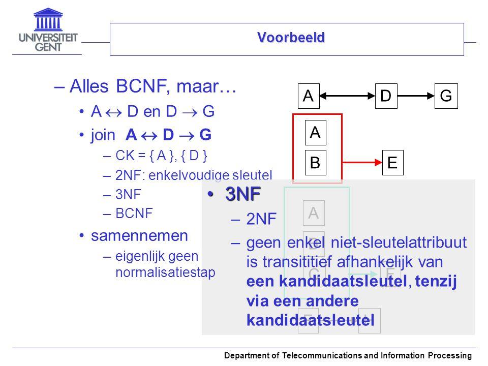 Department of Telecommunications and Information Processing Voorbeeld –Alles BCNF, maar… A  D en D  G join A  D  G –CK = { A }, { D } –2NF: enkelv
