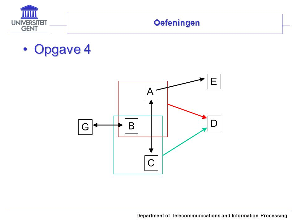 Department of Telecommunications and Information Processing Oefeningen Opgave 4Opgave 4 A B E D C G