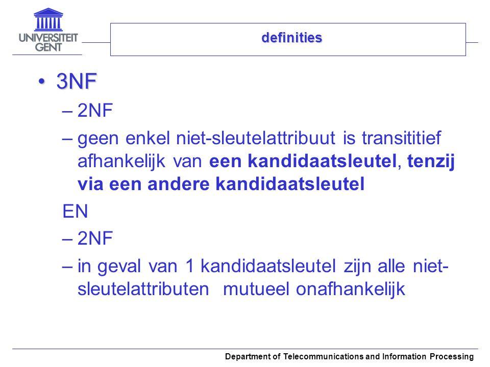 Department of Telecommunications and Information Processing definities 3NF3NF –2NF –geen enkel niet-sleutelattribuut is transititief afhankelijk van e
