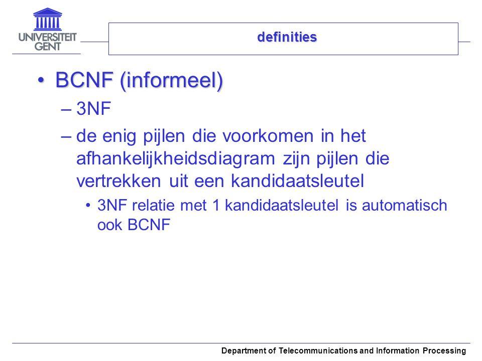 Department of Telecommunications and Information Processing definities BCNF (informeel)BCNF (informeel) –3NF –de enig pijlen die voorkomen in het afha