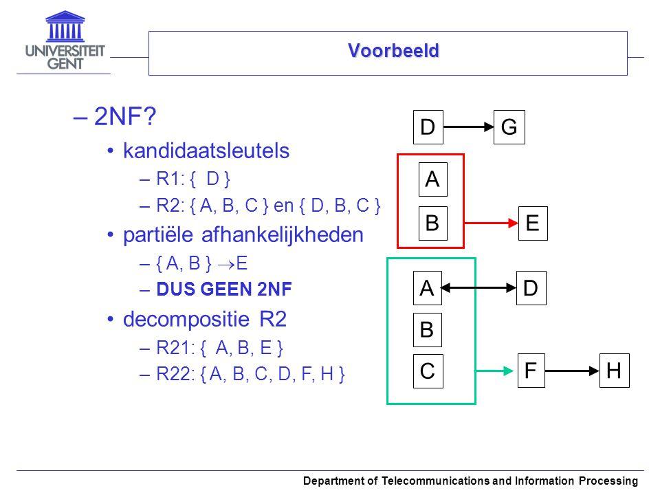 Department of Telecommunications and Information Processing Voorbeeld –2NF? kandidaatsleutels –R1: { D } –R2: { A, B, C } en { D, B, C } partiële afha