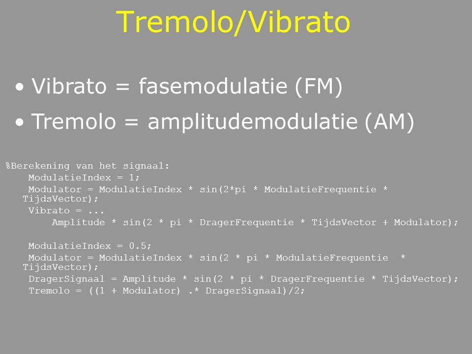 Tremolo/Vibrato %Berekening van het signaal: ModulatieIndex = 1; Modulator = ModulatieIndex * sin(2*pi * ModulatieFrequentie * TijdsVector); Vibrato =